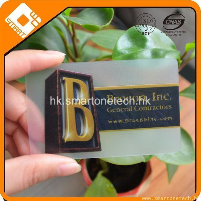 Colorful Screen Printing Transparent Pvc Business Card